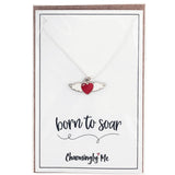 """Born to Soar"" Winged Heart Enamel Charm Necklace on Gift Message Card"
