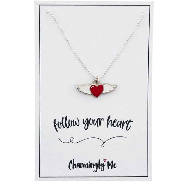 """Follow Your Heart"" Winged Heart Enamel Charm Necklace on Gift Message Card"