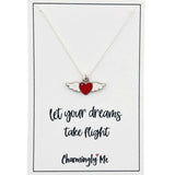 """Let Your Dreams Take Flight"" Winged Heart Enamel Charm Necklace on Gift Message Card"