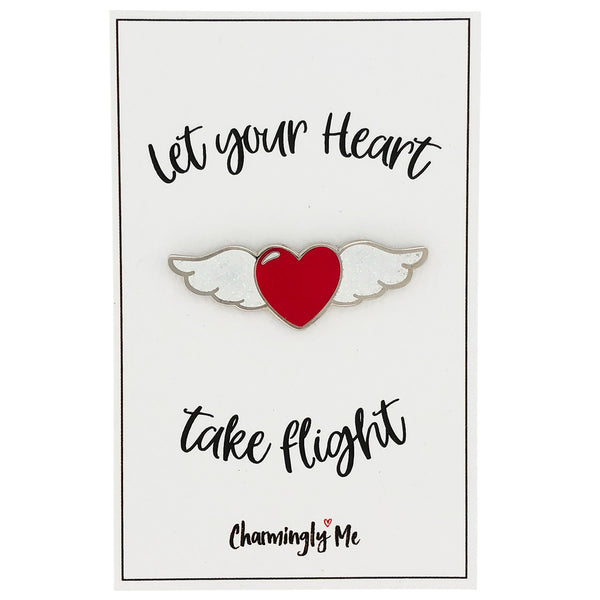 "Winged Heart Enamel Pin on ""Let Your Heart Take Flight"" Gift Message Card"