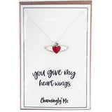 """You Give My Heart Wings"" Winged Heart Enamel Charm Necklace on Gift Message Card"