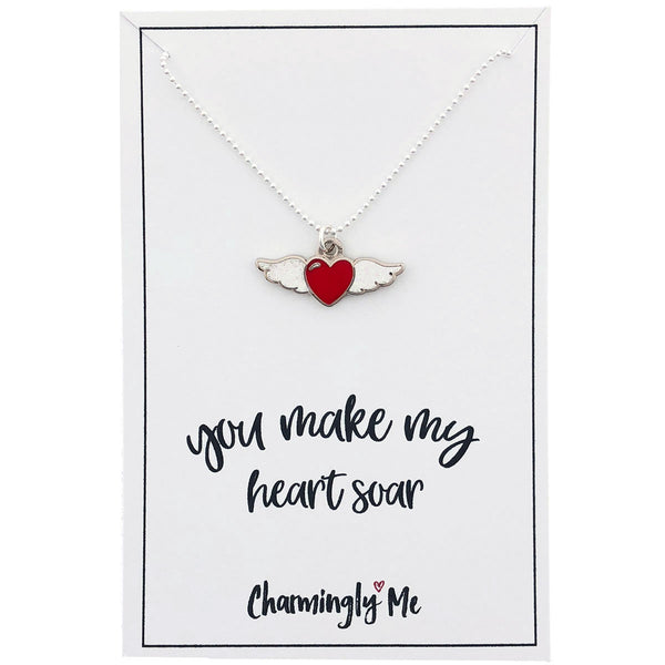 """You Make My Heart Soar"" Winged Heart Enamel Charm Necklace on Gift Message Card"