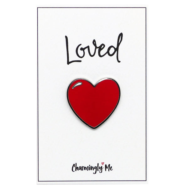 """Loved"" Heart Lapel Pin on Greeting Card"