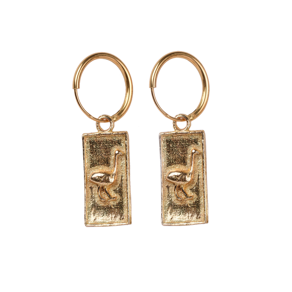 Ostrich square pair of earrings