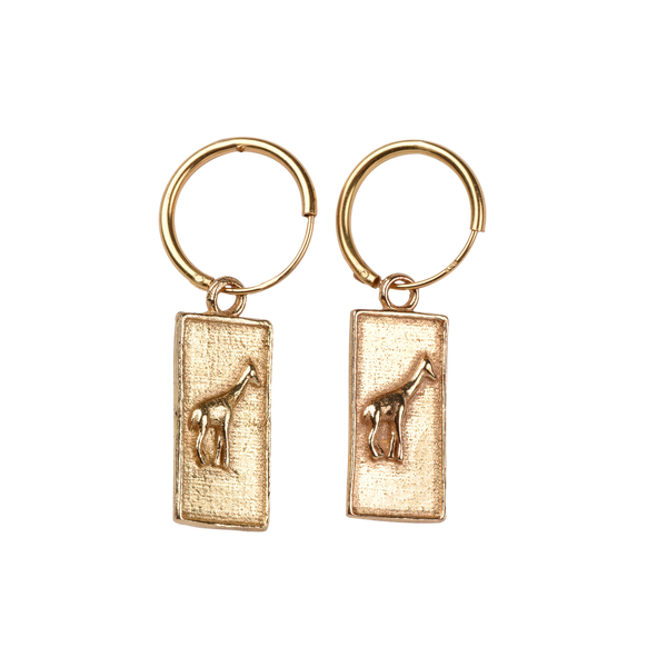 Giraffe square pair of earrings