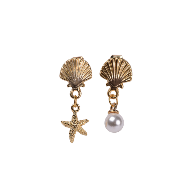 Shell pearl / starfish pair earrings