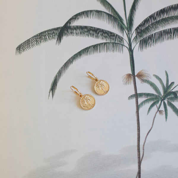 Small palmtree coin pair of earrings