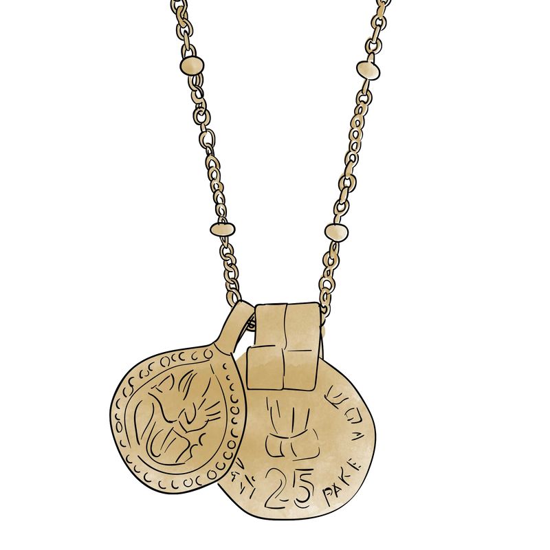 India coin + drop necklace
