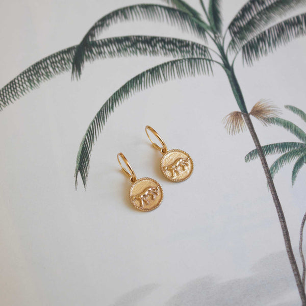 Small ostrich coin pair of earrings