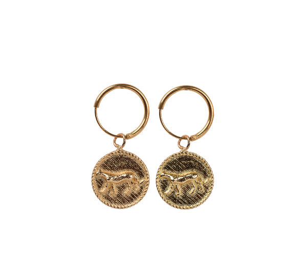 Small leopard coin pair of earrings