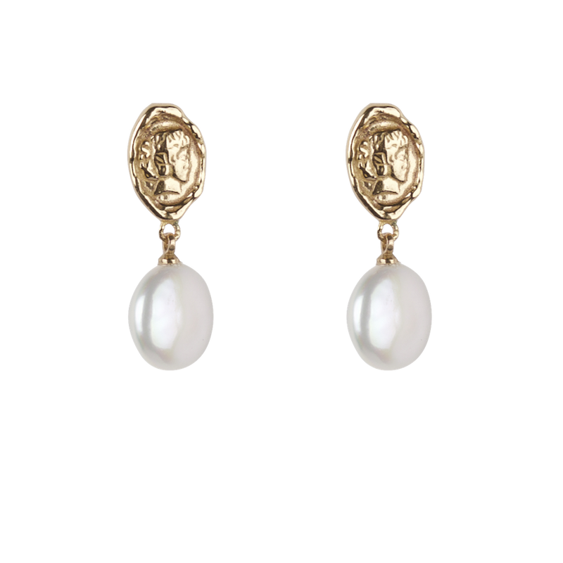 Head coin with big freshwater pearl pair of earrings