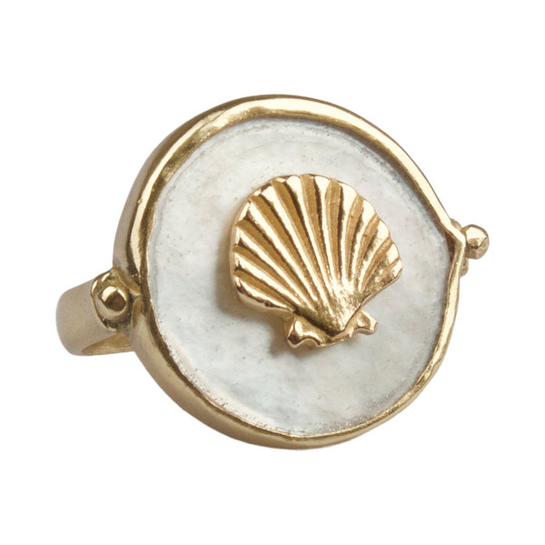 Shell on mother of pearl ring