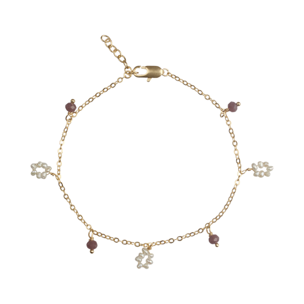 Flower freshwater pearl / small stones bracelet light purple