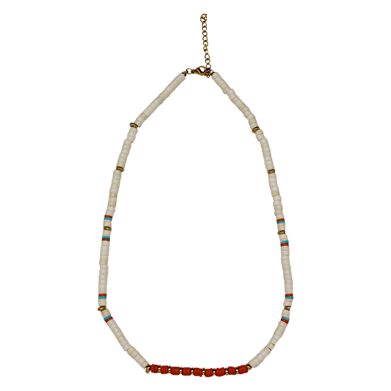 Necklace terra/cream beads