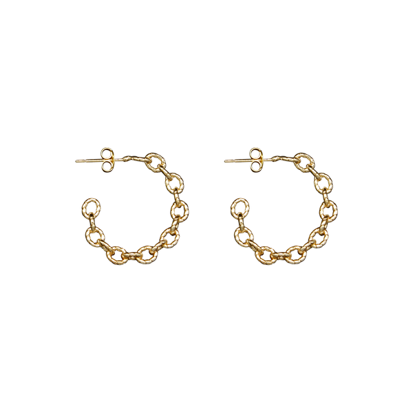 Big half moon chain pair of earrings