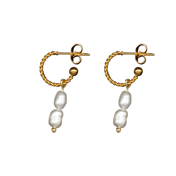 Double freshwater pearl twisted pair of earrings