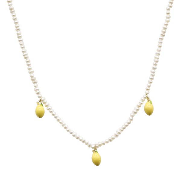 Freshwater pearl necklace with lemons