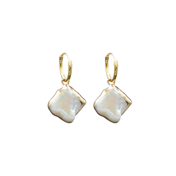 Square MOP pair of earrings