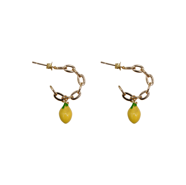 Small half moon chain lemon pair of earrings