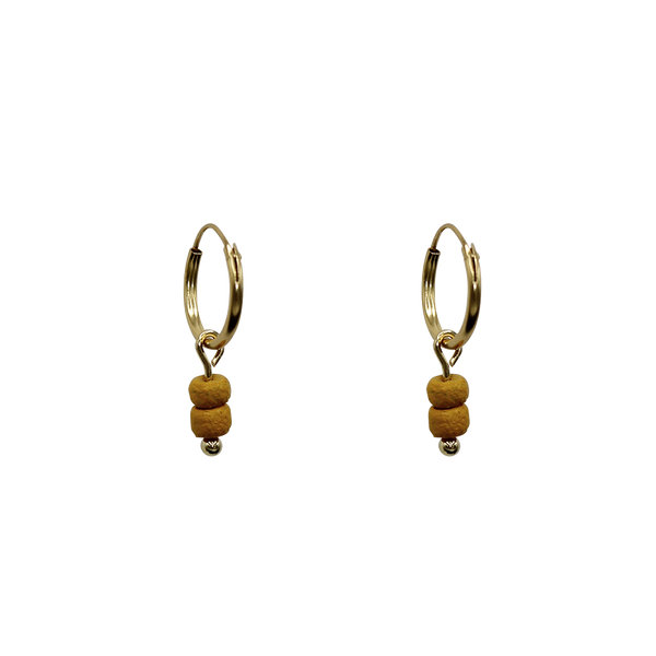 Ocher beads pair of earrings
