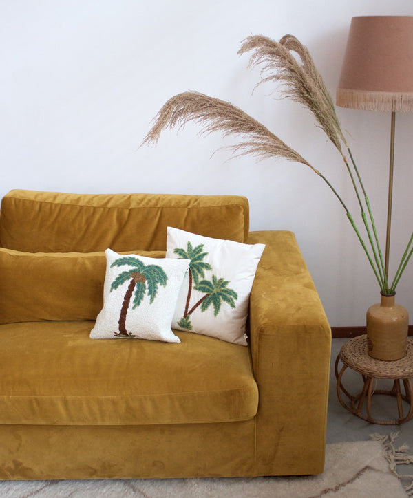 Half beads cushion double palmtree