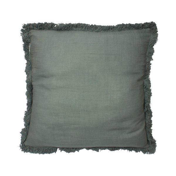 Cushion cover with fringes teal