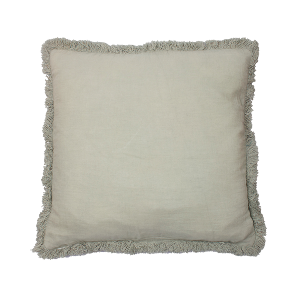 Cushion cover with fringes light green