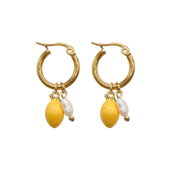Lemon with freshwater pearl pair of earrings