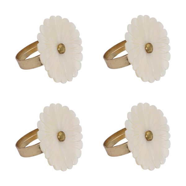 Daisy napkin rings MOP (set/4)