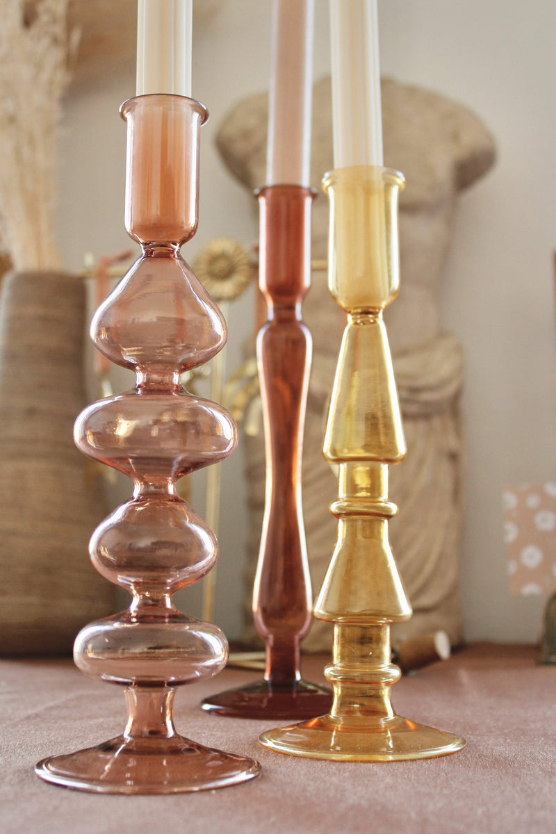 PRE-ORDER: Glass candle holder mustard