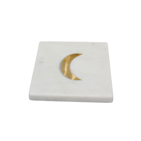 Marble coaster with brass moon