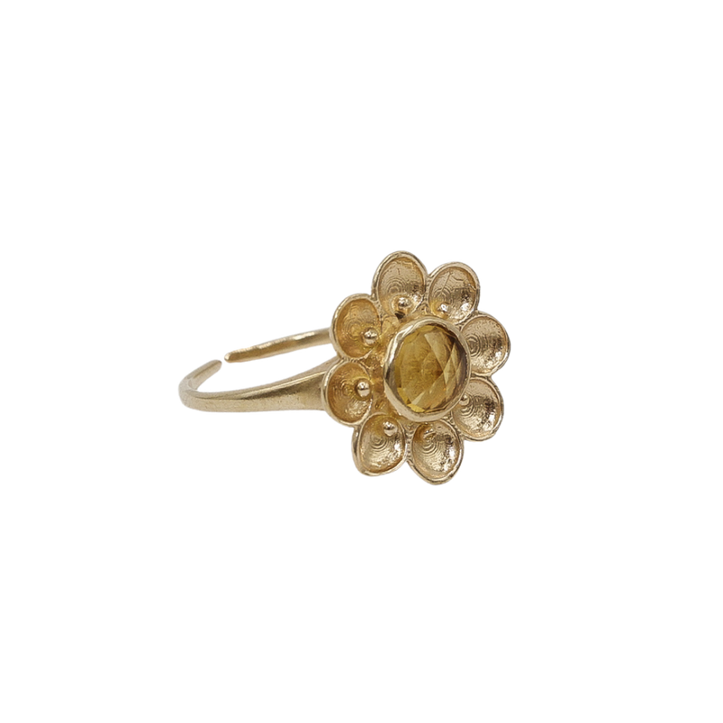 """Vintage gold"" big flower ring Yellow Citrine"