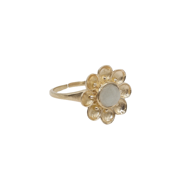 """Vintage gold"" big flower ring White Quartz"