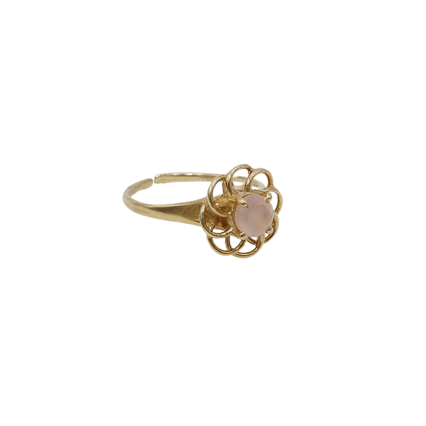 ''Vintage gold'' open flower ring Pink Chalcedony