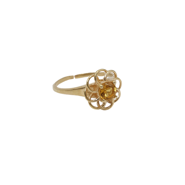 ''Vintage gold'' open flower ring Yellow Citrine