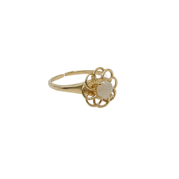 ''Vintage gold'' open flower ring White Quartz