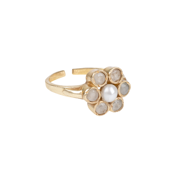 ''Vintage gold'' Ollie flower White Quartz