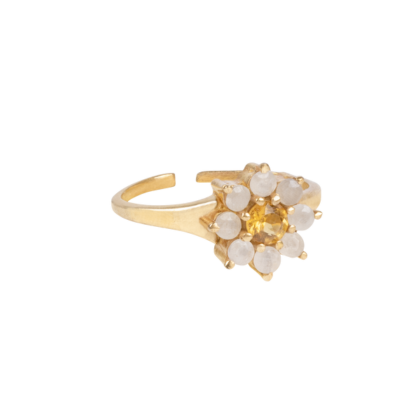 """Vintage gold"" antique flower Yellow Citrine"