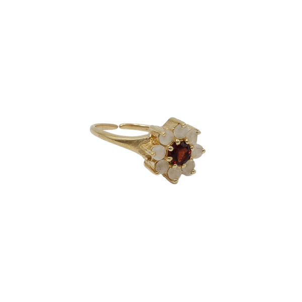 """Vintage gold"" antique flower Red Garnet"