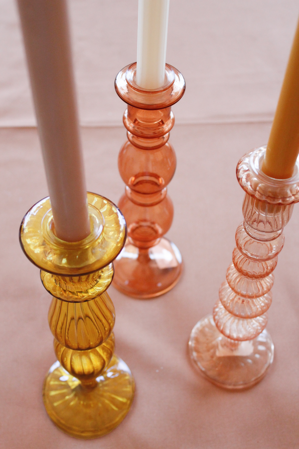 Classic glass candle holder coral