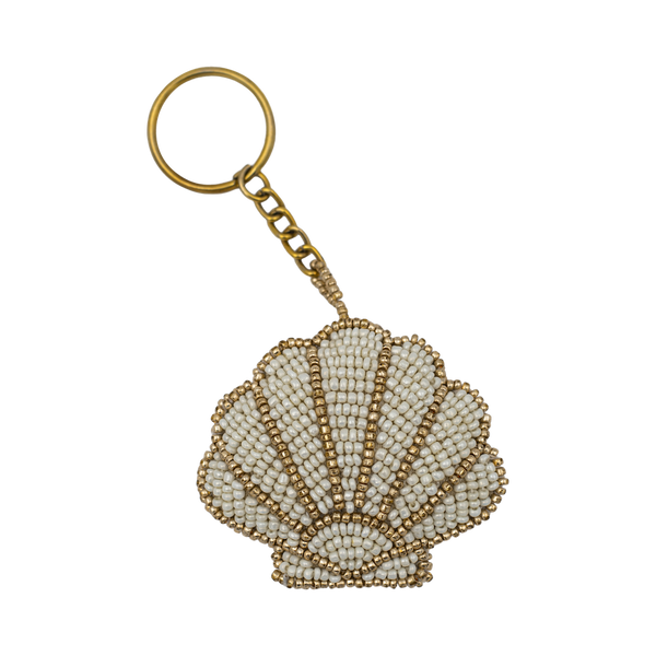 Beaded shell keychain