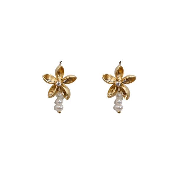 Daisy with zirconia and three freshwater pearls pair of earrings