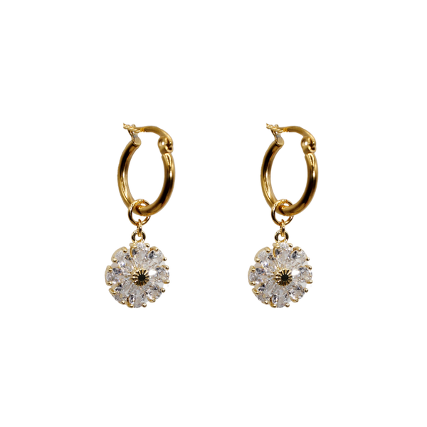 Zirconia daisy pair of earrings