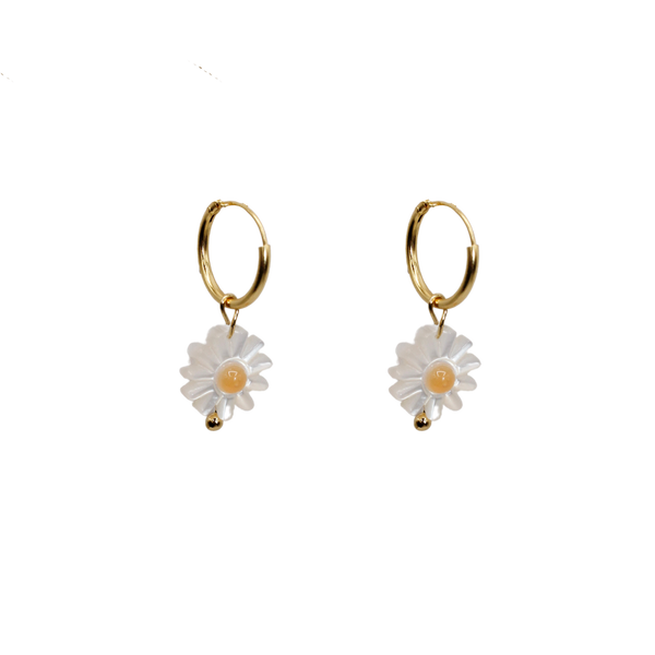 Daisy MOP mustard pair of earrings