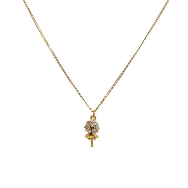 Zirconia flower necklace