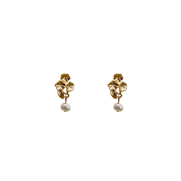 Three flowers freshwater pearl pin pair of earrings