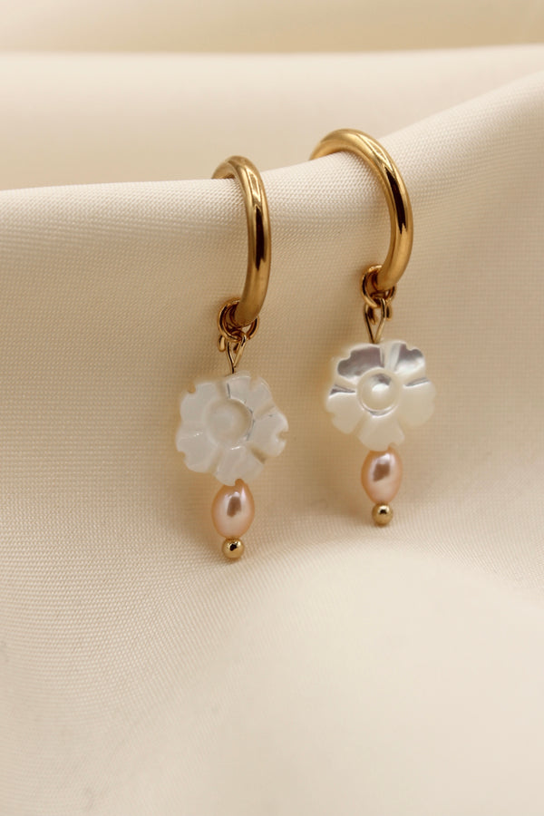 French lock flower MOP pink freshwater pearl pair of earrings