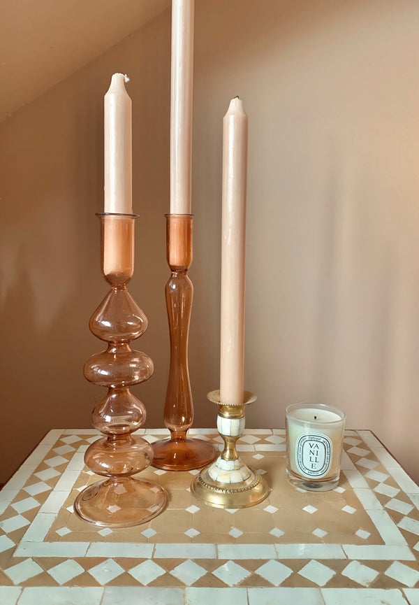 PRE-ORDER: Glass candle holder terra