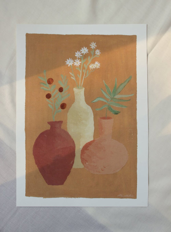 Pots with flowers A3 poster