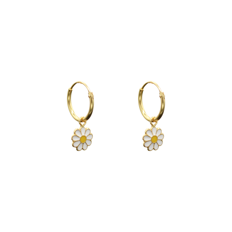 Daisy pair of earrings white